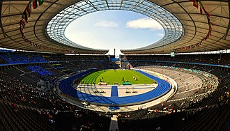 Sports venue - Olympiastadion in Berlin where 2006 FIFA World Cup and 2009 World Championships in Athletics were held