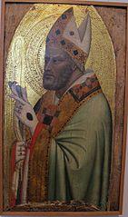 Halbfigur eines hl. Bischofs mit einem Stieglitz