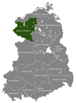 Location of Bezirk Schwerin within the German Democratic Republic