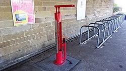 Bicycle maintenance point, Kilwinning Station, North Ayrshire.jpg