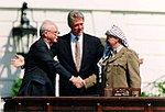 Bill Clinton, Yitzhak Rabin, Yasser Arafat at the White House 1993-09-13.jpg