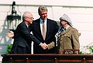 Oslo Accords 1993, hands shaking