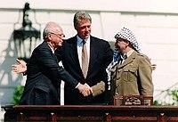 Bill Clinton, Yitzhak Rabin, Yasser Arafat at the White House 1993-09-13.jpg