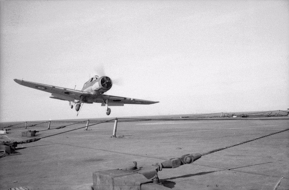 Blackburn Skua landing on HMS Ark Royal