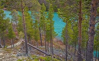 Rock flour - Östra Blanktjärn Lake in Vålådalen Nature Reserve, Sweden