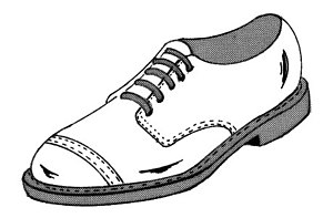 Line art drawing of shoe.