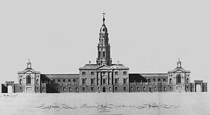 Thomas Ivory (Irish architect) - Engraving after Thomas Ivory, competition entry (1772) for the Blue Coat School, Dublin
