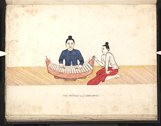 Pattala - A Pattala being played. 19th century Burmese watercolour