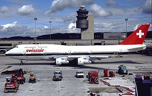 Zürich Airport - A Swissair Boeing 747-300 at Zürich Airport in 1993