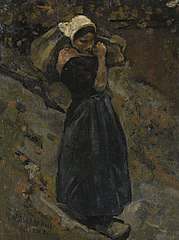 A Peasant Woman carrying a Sack