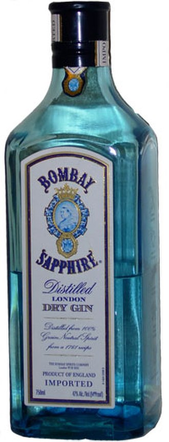 Sapphire (color) - A bottle of Bombay Sapphire gin