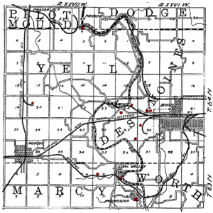 Kate Shelley - 1908 map showing the Chicago and Northwestern route through Moingona, the southernmost community on the map. The railroad crossed the Des Moines River between Moingoja and Honey Creek. (Red dots on the map are coal mines.)