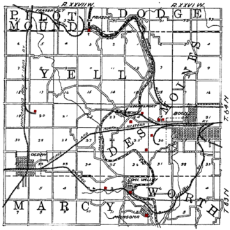 Boone, Iowa - Map of the Boone area from 1908, showing the railroads and coal mines (shown in red) of the region.