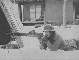 Type 11 light machine gun - Japanese Border Guard Trooper and Type 11 light machine gun
