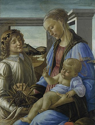 Religious art - An example of a Madonna with an Angel, painted by Sandro Botticelli (1470) and commissioned by the Catholic Church during the Renaissance in Florence (Boston, Isabella Stewart Gardner Museum)