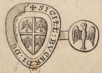 Crosses in heraldry - Seal of  Bouchard de Marly (attested 1225), a cross, quarterly four alerions.