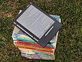 Bouquin électronique iLiad en plein soleil sur une pile de livre.jpg