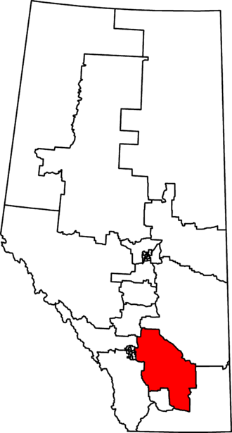 Bow River (electoral district) - Bow River in relation to other Alberta federal electoral districts as of the 2013 Representation Order.