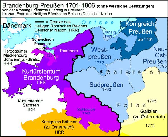 Пруссия времён Фридриха (лиловый и синий цвет)