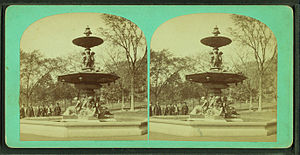 Brewer Fountain - One of many stereoscopic images of the fountain