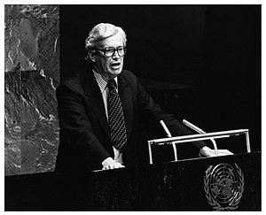 Brian Talboys - Talboys addressing the UN General Assembly, August 1980.