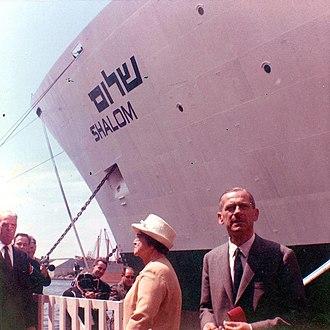 Paula Ben-Gurion - Paula Ben-Gurion at the launching of the SS Shalom, 1964
