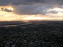 Brisbane seen from air, sunset 02.jpg
