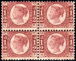 Halfpenny Rose Red - Image: British 1870 half penny plate 13 stamps
