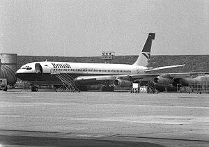 British Airways Boeing 707 on engine test behind Technical Block A, Heathrow Airport.jpg
