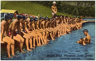 Broad Creek Memorial Scout Reservation - Reservation Scouts learning to swim captured on a postcard