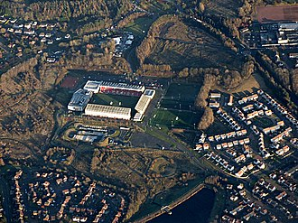 Westfield, Cumbernauld - Westfield including Broadwood Stadium with Broadwood Loch at the bottom between Blackwood on the left and Collingwood on the right. Smithstone is at the top left. Top right is part of St. Maurice's High School and its playing field. Below that in the green circular area in the centre of the houses is the site of the original Westfield Farm.