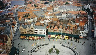 2016 Tour of Flanders - Market Square in Bruges, scene of the start of the 100th Tour of Flanders.