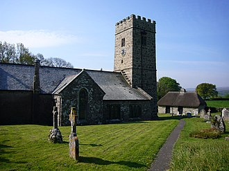 Buckland-in-the-Moor - The church, showing the famous clock.