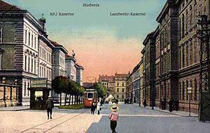 České Budějovice - Trams on Radecky street (now Žižkova street), c. 1909