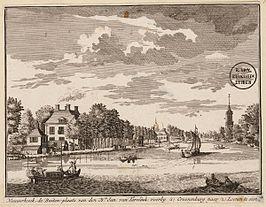 Nieuwerhoek rond 1719 afgebeeld