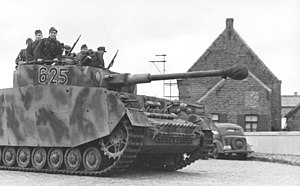 12th SS Panzer Division Hitlerjugend - Panzergrenadiers on a Panzer IV during training 1943.