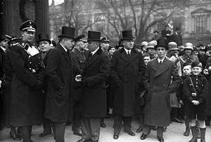 Lutz Graf Schwerin von Krosigk - The cabinet in February 1934, with Krosigk second from left.