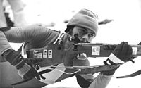 East German athlete using a toggle action straight pull rifle, 1980.
