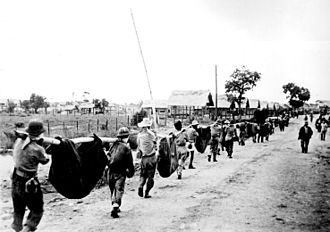 Litter (vehicle) - Improvised sling-type litters on the Bataan Death March in the Philippines in 1942