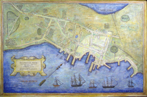 Burning of Falmouth - An 1850 map, painted in the early 20th century, depicting the areas damaged