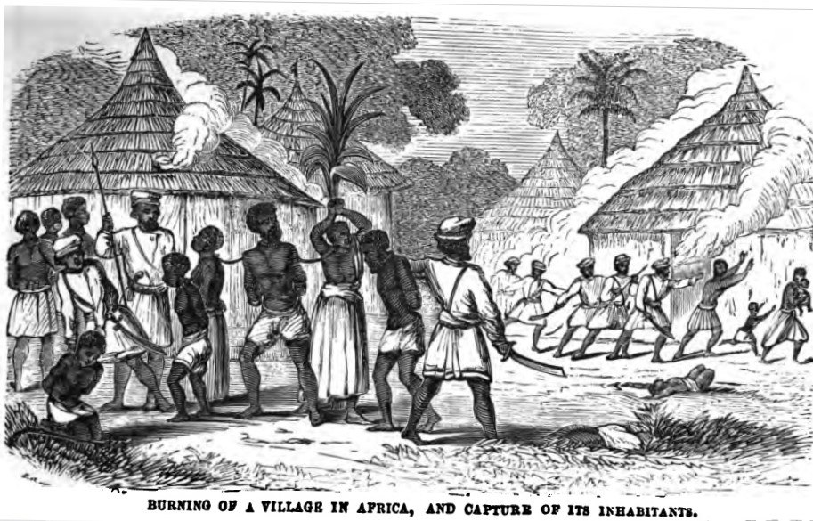 Burning of a Village in Africa, and Capture of its Inhabitants (p.12, February 1859, XVI) - Copy