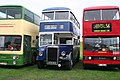Bus lineup, Yorkshire Rider 9339 (GUG 547N), Lytham St Annes Corporation 19 (GTB 903) & London Transport T910 (A910 SYE), 2006 Trans Lancs bus rally.jpg