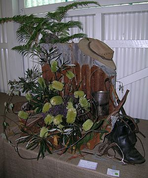 The bush - Icons of the Australian bush: bracken, corrugated iron, banksia, felt hat, billy, stockwhip and elastic-side boots.