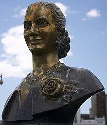 Buste van Evita Peron in La Plata