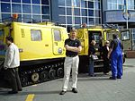 By one of the Hagglund Antarctic Vehicle vehicles at the Christchurch Antarctic Centre.jpg