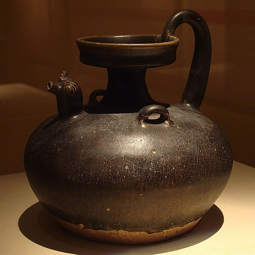 CMOC Treasures of Ancient China exhibit - black glazed jug with rooster head