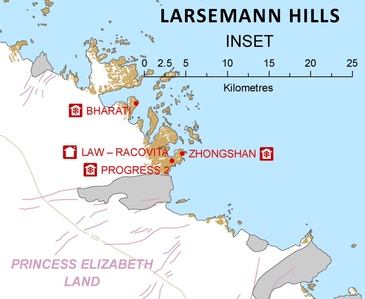 Larsemann Hills Wikipedia - Antarctic research stations map