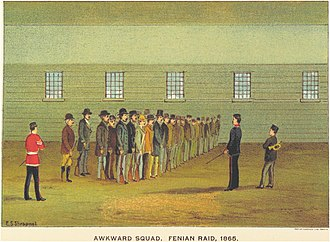 "Awkward squad - An artwork from Ontario, captioned ""Awkward Squad. Fenian Raid, 1865."""