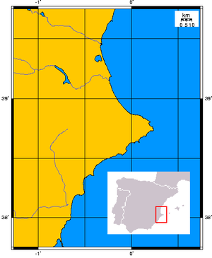 Cap de la Nau - Location of Cap de la Nau on the Gulf of Valencia, Mediterranean Sea.