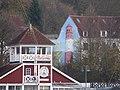 Cafe und Restaurant Bellevue sowie Außenwandbemalung eines Leuchtturms am Gebäude Hafendamm 13 (Flensburg 2014-11-21), Bild 2.jpg
